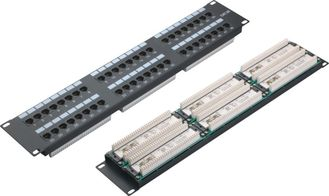 China UTP 48 Port Patch Panel 2U AMP Type Cat5e Patch Panels for Computer Center YH4015 supplier