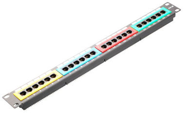 China High Density Network Patch Panel 24 Port CAT5E Cat6 With 4 Kind Of Colour YH4011 distributor
